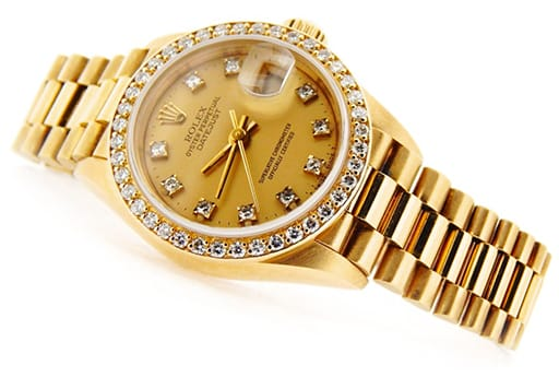 Ladies Rolex 18K Yellow Gold Datejust President Crown Collection Diamond 69138