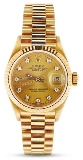 Ladies Rolex 18K Yellow Gold Datejust President Champagne Diamond 69178