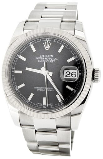 Mens Rolex Stainless Steel Datejust Black 116234