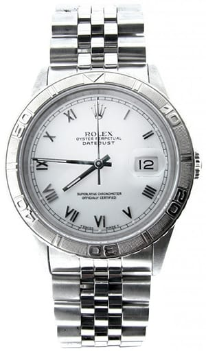 Mens Rolex Stainless Steel Datejust Turn-O-Graph White Roman 16264