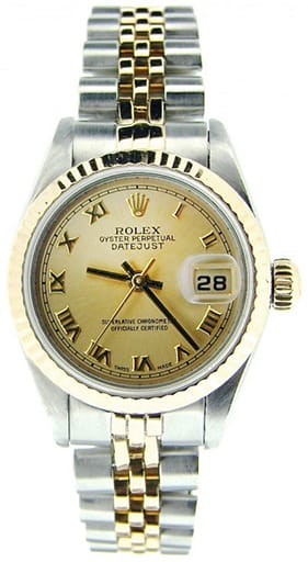 Ladies Rolex Two-Tone 18K/SS Datejust Champagne Roman 69173