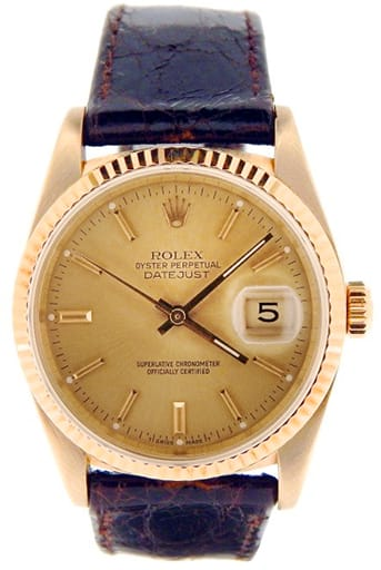 Mens Rolex 18K Yellow Gold Datejust Champagne 16018