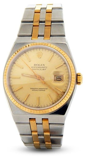 Mens Rolex Two-Tone Oysterquartz Datejust Gold Champagne 17013