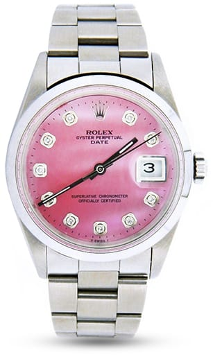 Mens Rolex Stainless Steel Date Pink MOP Diamond 15200