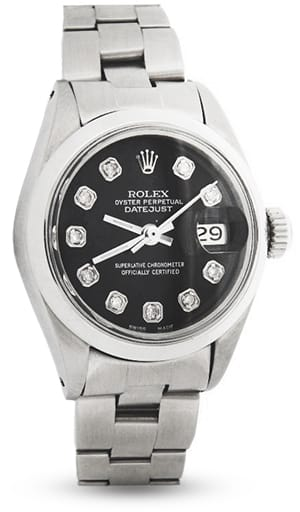 Ladies Rolex Stainless Steel Datejust Black Diamond 6916