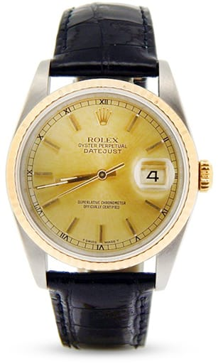 Mens Rolex Two-Tone 18K/SS Datejust Champagne 16233