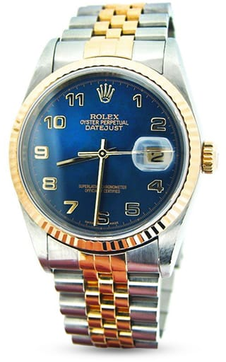 Rolex Graduation Gift - Mens Rolex Two-Tone 18K/SS Datejust Blue Arabic 16233