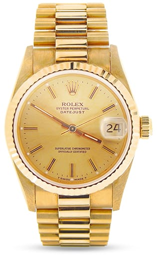 Mid-Size Rolex 18K Yellow Gold Datejust President Champagne 68278