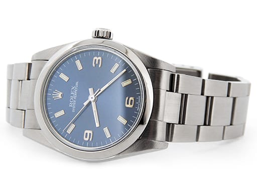 Mid-Size Rolex Stainless Steel Oyster Perpetual Blue Arabic 77080