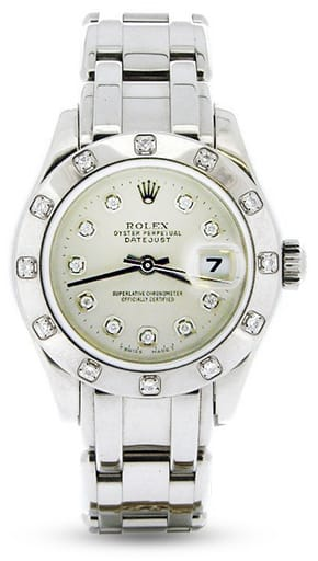 29mm Rolex - Ladies Rolex 18K White Gold Datejust Pearlmaster Silver Diamond 80319