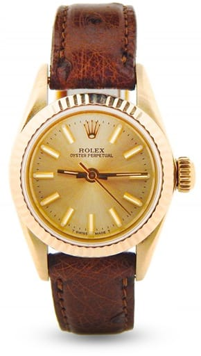 Ladies Rolex 14K Yellow Gold Oyster Perpetual Champagne 67197