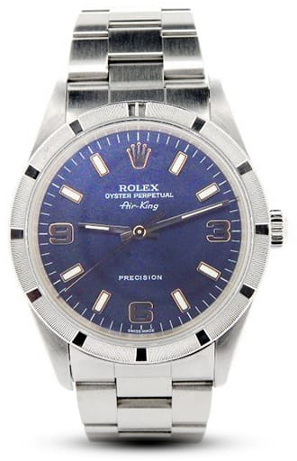 Mens Rolex Stainless Steel Air-King Blue Arabic 14010M