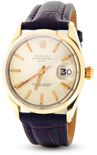 Pre Owned Mens Rolex Gold Shell Date with a Silver Dial 1550