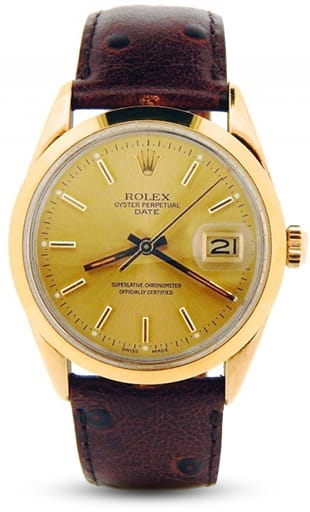 Mens Rolex 14K Gold Shell Date Champagne 15505