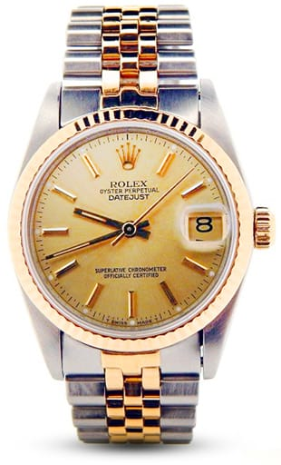 Pre Owned Midsize Rolex Two-Tone Datejust with a Gold Champagne Dial 68273