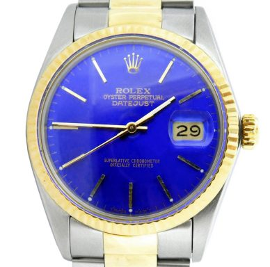 Rolex Two-Tone Datejust 16013 Blue -4