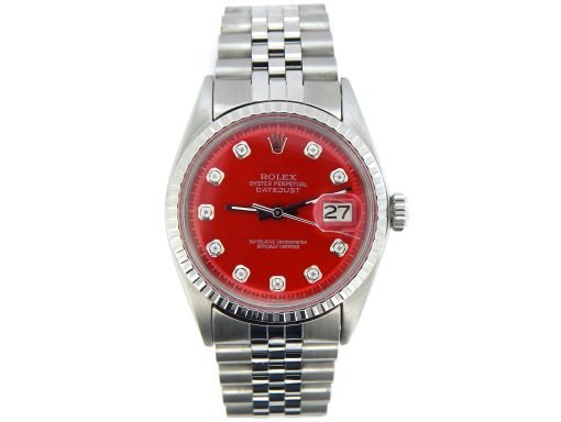 Rolex Stainless Steel Datejust 1603 Red Diamond-7