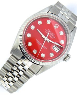 Rolex Stainless Steel Datejust 1603 Red Diamond-6
