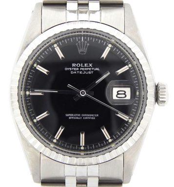 Rolex Stainless Steel Datejust 1603 Black -1