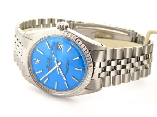Rolex Stainless Steel Datejust 1603 Blue -5