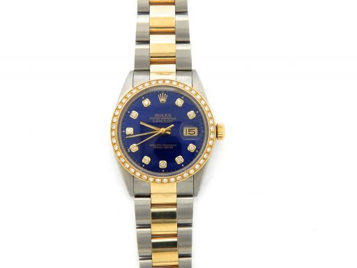 Rolex Two-Tone Datejust 16013 Blue Diamond-7