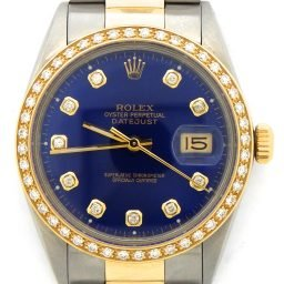 Mens Rolex Two-Tone Datejust Blue Diamond 16013 (SKU #9439569DMT)
