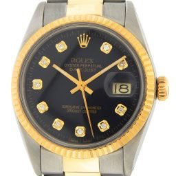 Mens Rolex Two-Tone Datejust Black Diamond 16013 (SKU 6115801DMT)