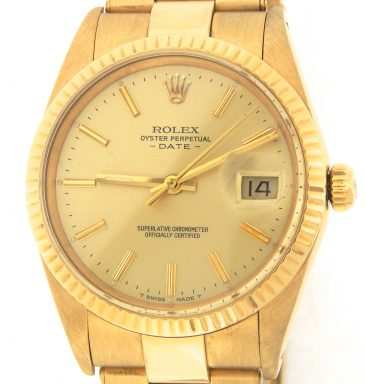 Rolex 18K Yellow Gold Date 15038 Champagne -1