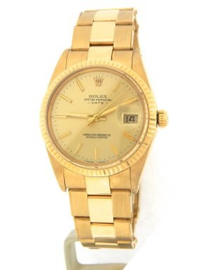 Rolex 18K Yellow Gold Date 15038 Champagne -10