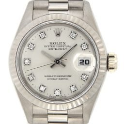 Ladies Rolex 18K White Gold Datejust President Silver Diamond 69179 (SKU R823461)