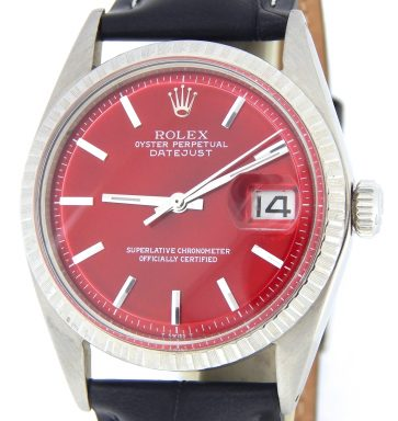 Rolex Stainless Steel Datejust 1603 Red