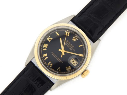 Rolex Two-Tone Datejust 1601 Black Roman-9