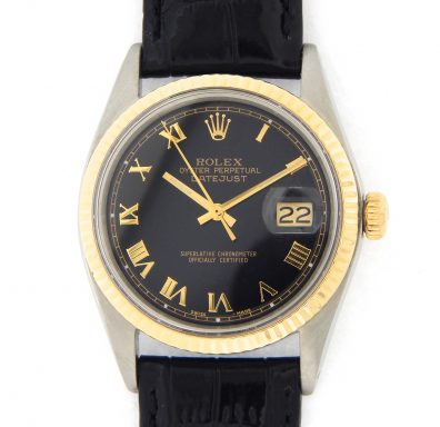 Rolex Two-Tone Datejust 1601 Black Roman-10