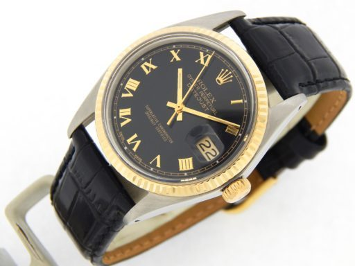 Rolex Two-Tone Datejust 1601 Black Roman-8