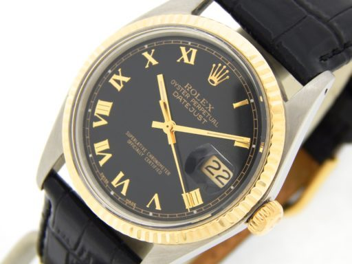 Rolex Two-Tone Datejust 1601 Black Roman-7