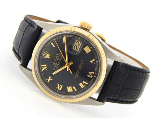 Rolex Two-Tone Datejust 1601 Black Roman-11