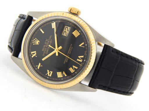 Rolex Two-Tone Datejust 1601 Black Roman-6