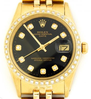 Rolex 14K Yellow Gold Date 15037 Black Diamond-1