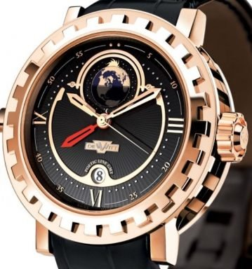 DeWitt 18K Rose Gold Academia, GMT 2 Poetic AC.2002.53.M020A Black Arabic, Roman-1