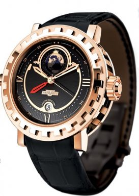 DeWitt 18K Rose Gold Academia, GMT 2 Poetic AC.2002.53.M020A Black Arabic, Roman-4