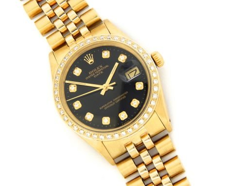 Rolex 14K Yellow Gold Date 15037 Black Diamond-6