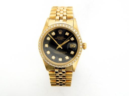 Rolex 14K Yellow Gold Date 15037 Black Diamond-7