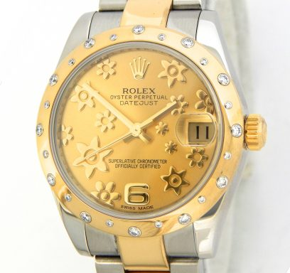 Rolex Two-Tone Datejust 178343 Champagne Floral Dial & 24 Diamond Domed Bezel-1