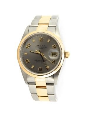 Rolex Two-Tone Date 15203 Gray, Slate Arabic-6