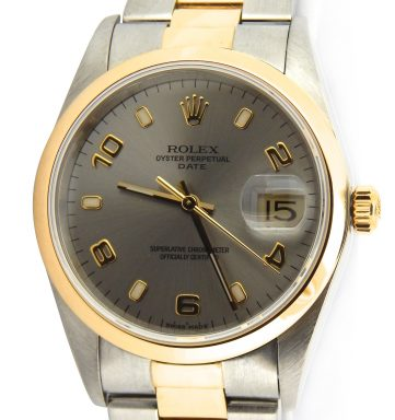 Rolex Two-Tone Date 15203 Gray, Slate Arabic-1