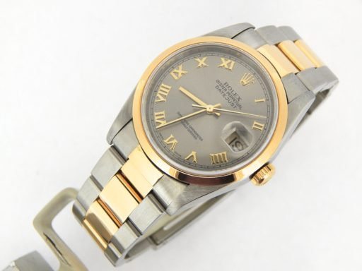 Rolex Two-Tone Datejust 16203 Gray, Slate Roman-6