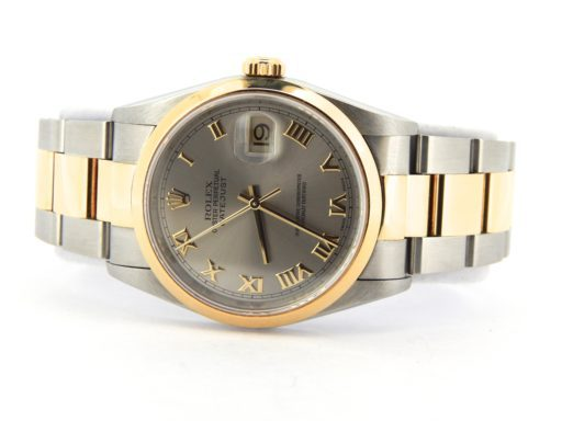 Rolex Two-Tone Datejust 16203 Gray, Slate Roman-7