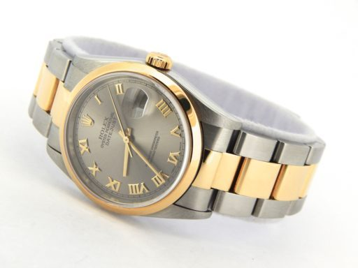 Rolex Two-Tone Datejust 16203 Gray, Slate Roman-8