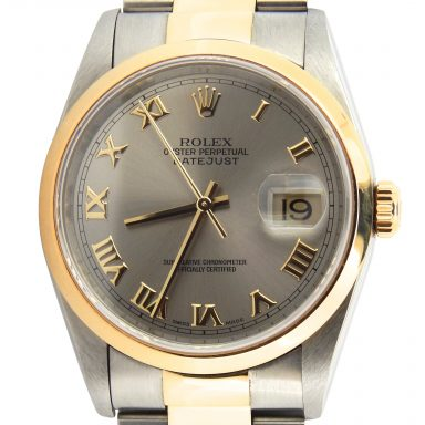 Rolex Two-Tone Datejust 16203 Gray, Slate Roman-1