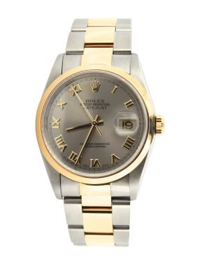 Rolex Two-Tone Datejust 16203 Gray, Slate Roman-9